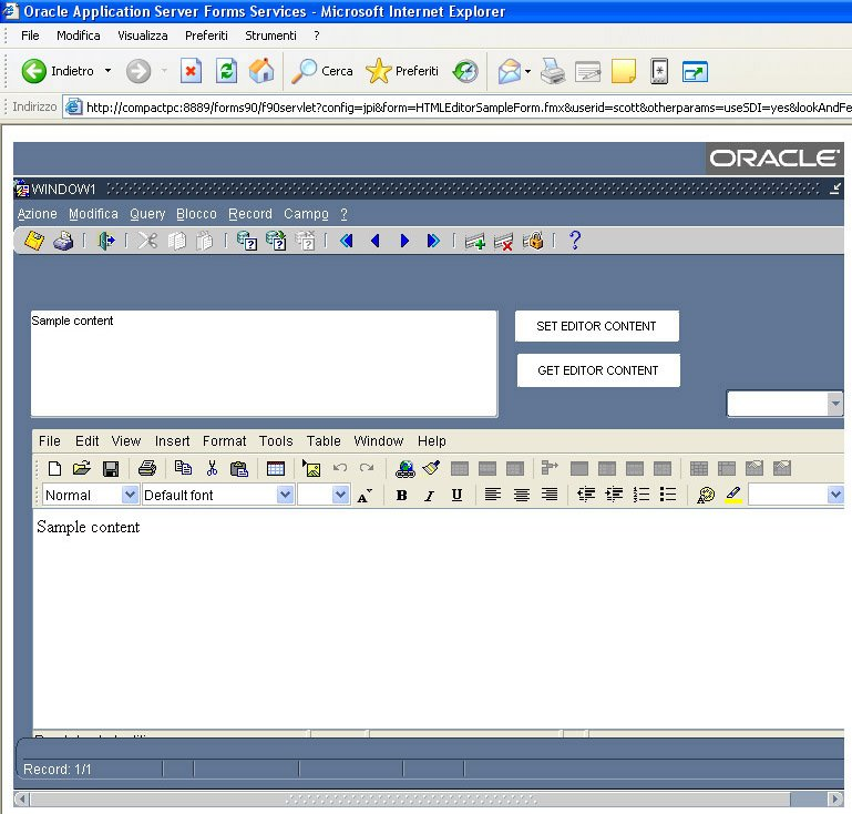 Java HTML Editor in Oracle Forms