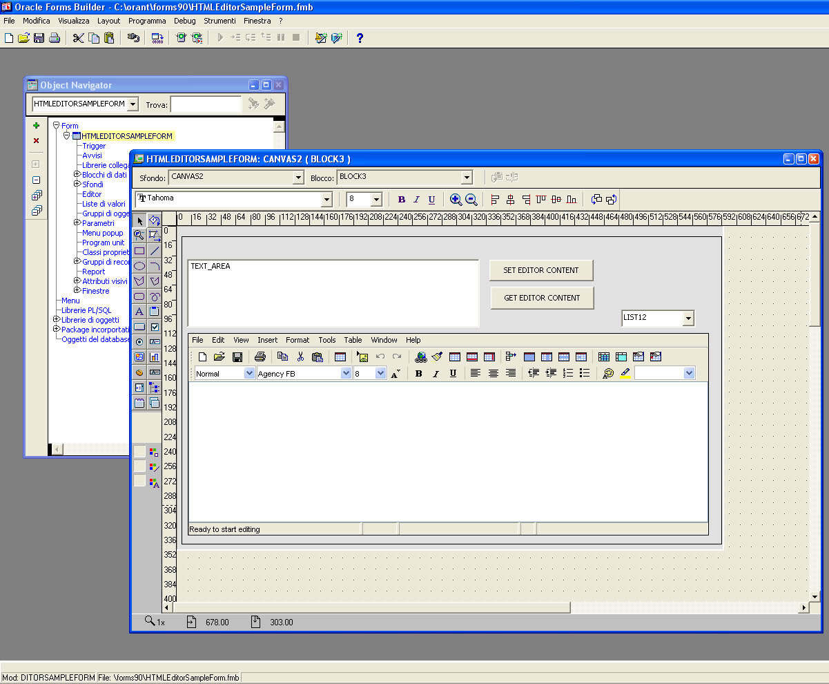 Java HTML Editor in Oracle Forms Builder