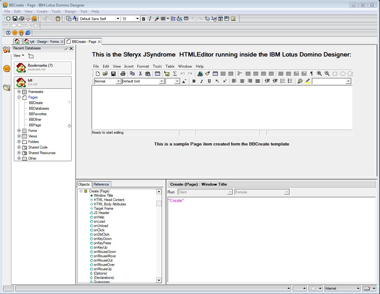 IBM Lotus Notes HTML Editor and Sferyx JSyndrome Applet