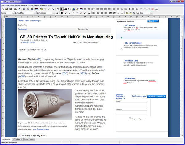 Sferyx JSyndrome HTMLEditor Applet Edition - Screenshots